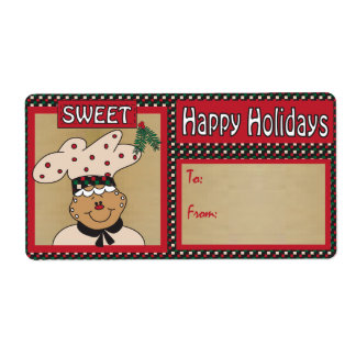 Sweet Gingerbread Guy Gift Tag Label