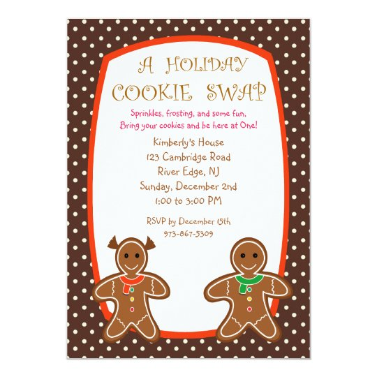 Sweet Gingerbread Holiday Cookie Swap Invitations