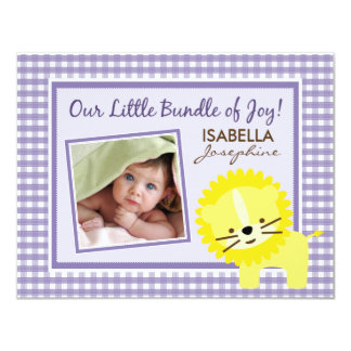 "Sweet Gingham Lion Birth Announcement (lavender) 4.25"" X 5.5"" Invitation Card"
