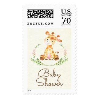 Sweet Giraffe  Baby Shower Postage Stamp