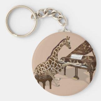Sweet Giraffe Loves To Play Piano Keychain