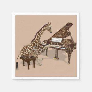 Sweet Giraffe Loves To Play Piano Paper Napkin