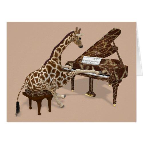 Sweet Giraffe Playing Piano