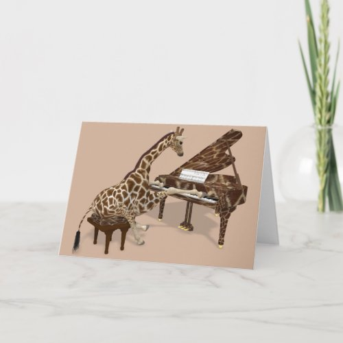 Sweet Giraffe Playing Piano Card