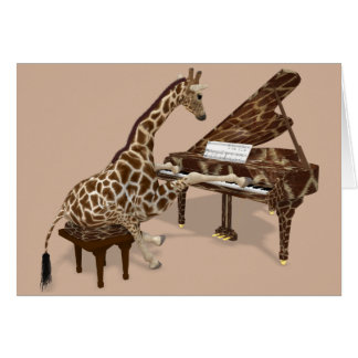 Sweet Giraffe Playing Piano Card