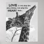 Sweet Giraffe Poster LOVE is what your heart feels