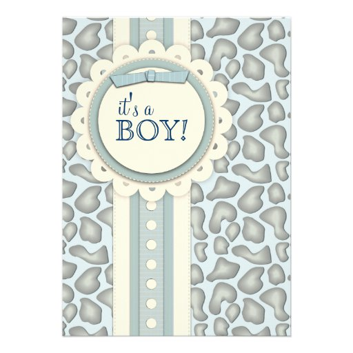 Sweet Giraffe Scrapbook Baby Shower Invite | Blue