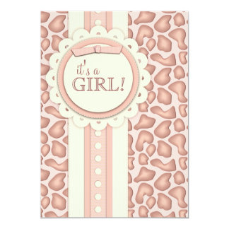 Sweet Giraffe Scrapbook Baby Shower Invite   Pink