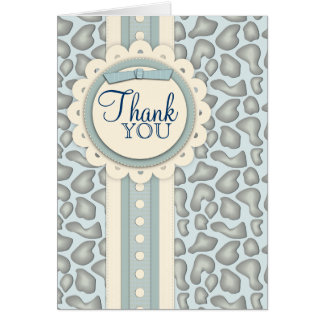 Sweet Giraffe Scrapbook Thank You Note Card | Blue