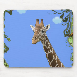 Sweet Giraffe With Butterflies. Mouse Pad