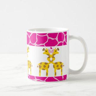 Sweet Giraffes in Love Pink Coffee Mug