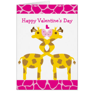 Sweet Giraffes in Love Pink Happy Valentines Day Greeting Card