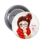 Sweet girl and ice cream pinback button