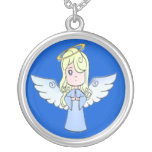 Sweet Girl Angel Round Pendant Necklace
