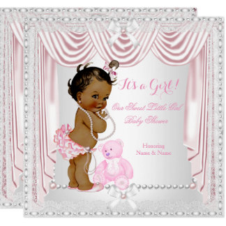 Sweet Girl Baby Shower Pink Satin Ethnic Card