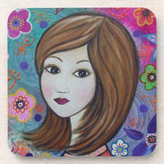 Sweet Girl by Prisarts Beverage Coaster