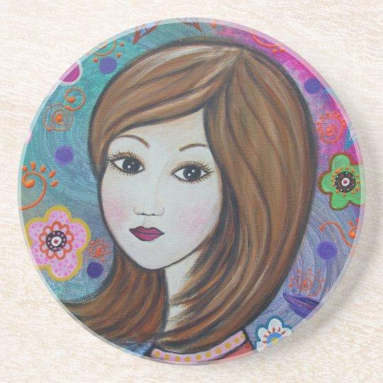 Sweet Girl by Prisarts Sandstone Coaster