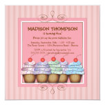 Sweet Girl Cupcake Birthday Party Invitation
