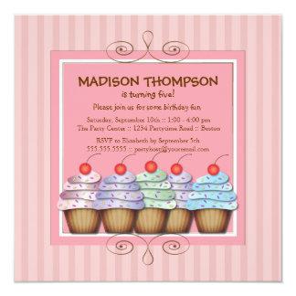 Sweet Girl Cupcake Birthday Party Invitation
