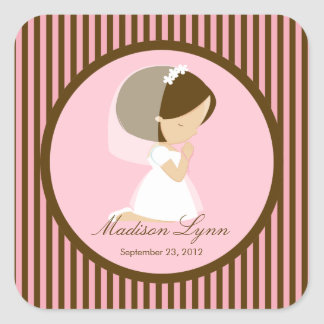 Sweet Girl First Holy Communion Sticker Brown Pink