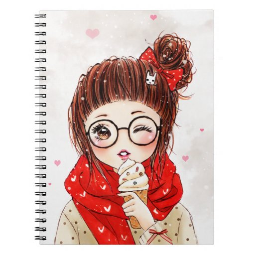 Sweet girl in red scarf spiral notebooks