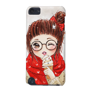 Sweet girl in red scarft with ice cream iPod touch 5G case