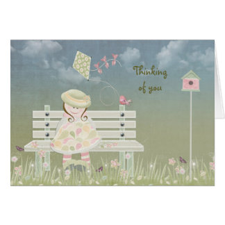 Sweet girl in springtime stationery note card
