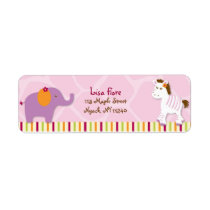 Sweet Girl Jungle Animal Address Labels