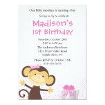 Sweet Girl Monkey Birthday Invitation