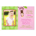 Sweet Girl Monkey Jungle Birthday Invitations