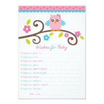 Sweet Girl Owl Wishes for Baby Advice Cards