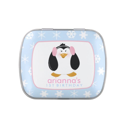 Sweet Girl Penguin Favor Tin Jelly Belly Tin