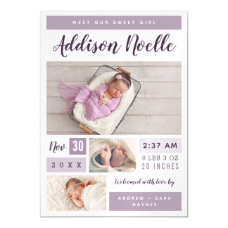 Sweet Girl Photo Collage Birth Announcement