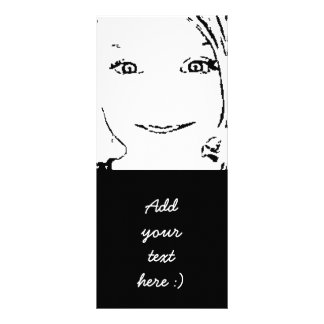 Sweet Girl Portrait Bright Eyes, Black and White Rack Card