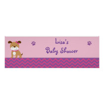 Sweet Girl Puppy Dog Baby Shower Banner Sign