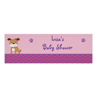 Sweet Girl Puppy Dog Baby Shower Banner Sign Poster