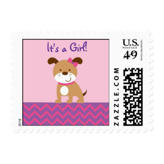 Sweet Girl Puppy Dog Postage Stamps