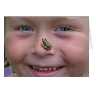 Sweet Girl With Frog On Nose Greeting Card