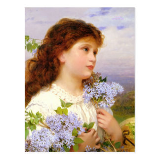 Sweet Girl with Lilac Flowers Vintage Art Postcard