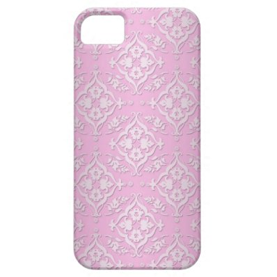 Sweet Girly Floral Damask Pattern in Pink iPhone 5 Case