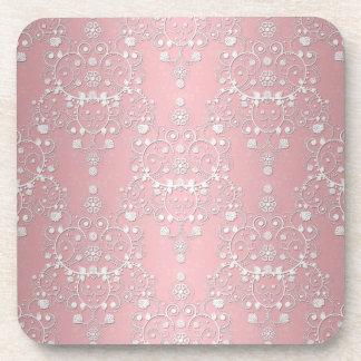 Sweet Girly Pink Floral Damask Beverage Coaster