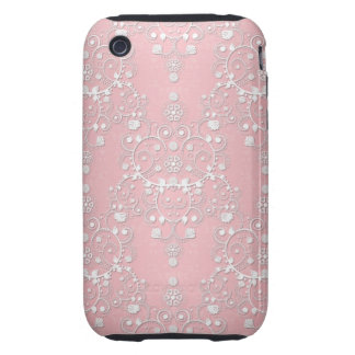 Sweet Girly Pink Floral Damask Tough iPhone 3 Cases