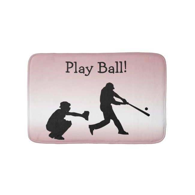 Sweet Girly Pink Play Ball Baseball Sports Bathmat