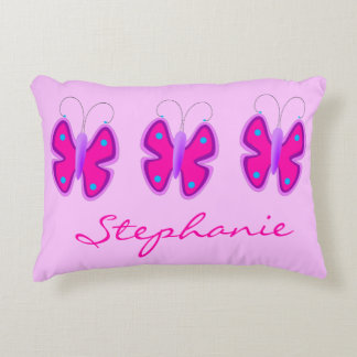 Sweet Girly Pretty Pink Butterflies Custom Name Accent Pillow