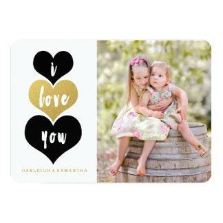"Sweet Gold Heart | Valentine's Day Photo Card 5"" X 7"" Invitation Card"