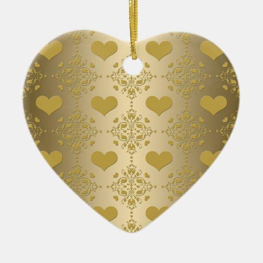 Sweet Gold Hearts Damask Pattern Ceramic Ornament