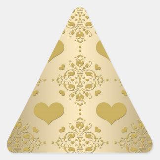 Sweet Gold Hearts Damask Pattern Triangle Sticker