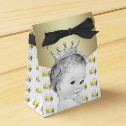 Sweet Gold Prince Baby Shower Favor Box