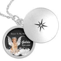 Sweet Golden Angel Retriever Dog Pet Memorial Locket Necklace