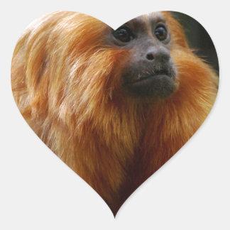 Sweet Golden Lion Tamarin Heart Sticker